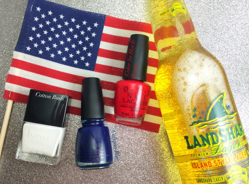 I forgot to include the glitter polishes in this pic, oops! I did include a beer, though, because 'MERICA!
